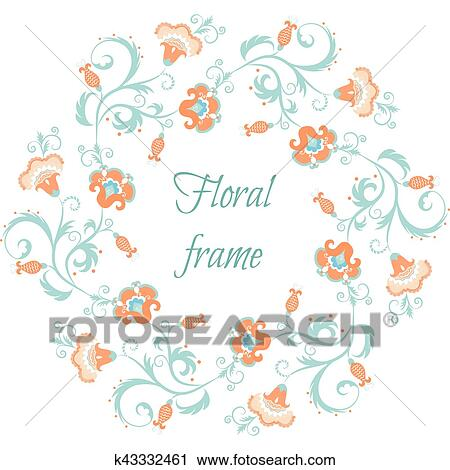 Clipart - floral, garland., flor, frontera, marco, en, pintura ...
