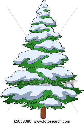 Clipart Fur Tree Mit Schnee K5058080 Suche Clip Art