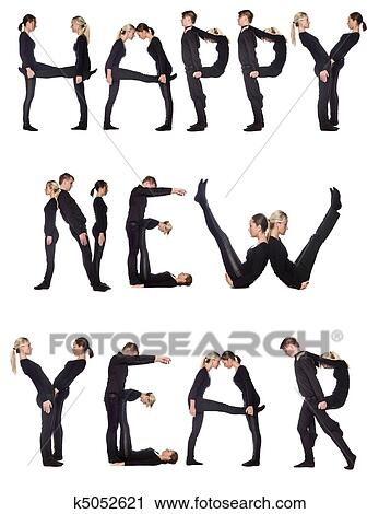 Stock Photography of Group of people forming the phrase \'Happy new ...