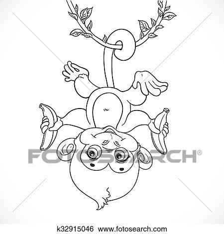 Clip Art - lindo, bebé mono, con, plátano, ahorcadura, el, liana ...