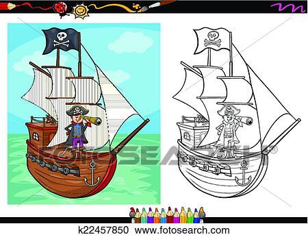 Clipart Pirate Sur Bateau Dessin Anime Livre Coloration
