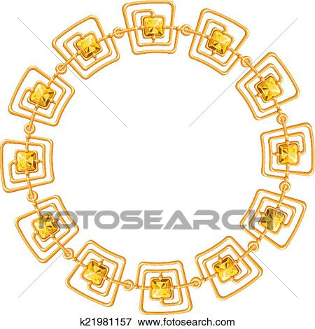 a977cf228cf4 Clip Art - round frame vector - gold chain on the white background.  Fotosearch -