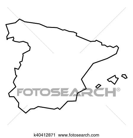 Spanien Karte Schwarz Weiß.Schwarz Höhenlinienkarte Von Spanien Clipart