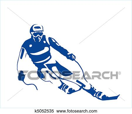 Dessin Skieur Humoristique clipart - silhouette, de, les, skieur k5052535 - recherchez des clip