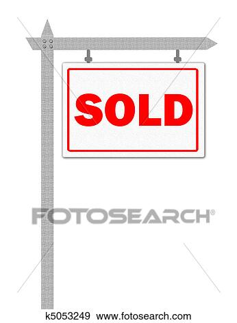 stock illustration of sold sign k5053249 search vector clipart rh fotosearch com sold out sign clipart sold sign clipart free