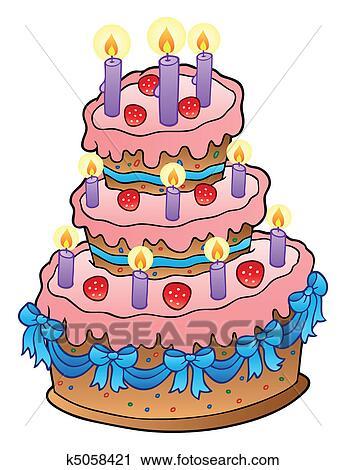 clipart taart Clipart   taart, met, kaarsjes, en, linten k5058421   Zoek Clipart  clipart taart
