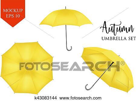 Clipart - vector, realista, parasol, lluvia, paraguas, sombrilla ...