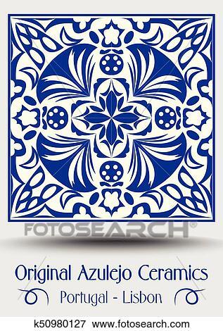 Clip Art Vintage Ceramic Tile In Azulejo Design With Blue Patterns On White Background