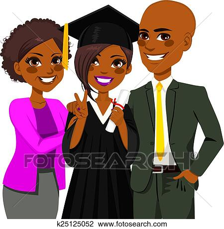 clipart of african american family graduation day k25125052 search rh fotosearch com african american family clipart images clipart - african american family