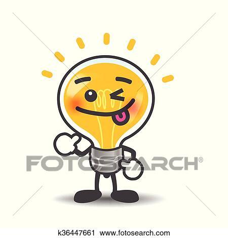 Ampoule Lampe Dessin Anime Isole Projection Pouce Haut Sur Les Fond Blanc Vecteur Illustration Clipart K36447661 Fotosearch