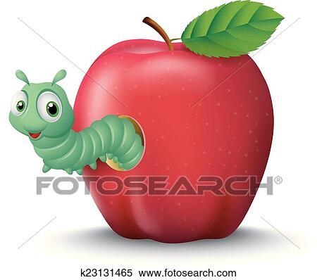 Cartone animato verme uscire di un mela clipart k