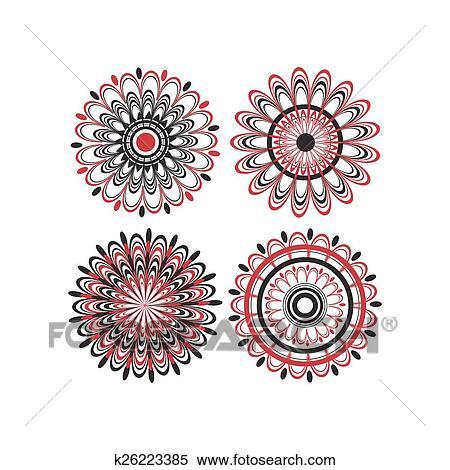 Collezione Di Quattro Maori Fiore Progetta Clipart K26223385