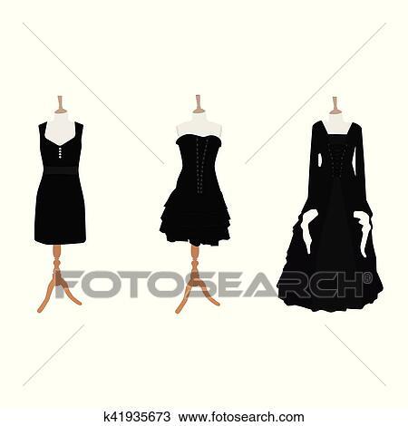Clipart Femme Noir Robes K41935673 Recherchez Des Clip Arts