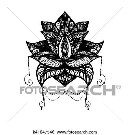 Flor Loto Tatuaje Clip Art K41847546