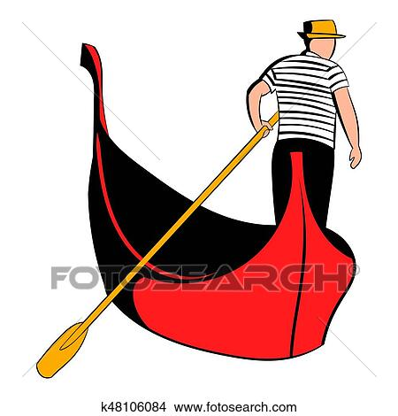 drawings of gondola with gondolier icon cartoon k48106084 search rh fotosearch com gondola clipart black and white gondola clipart free