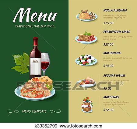 Clip Art - italienische küche, gasthaus, menu., vektor, design ...