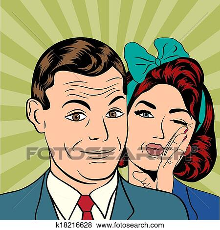 clip art of man and woman love couple in popart comic style