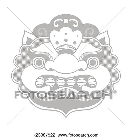 Traditional Balinese Mask Barong Clipart K23387522 Fotosearch