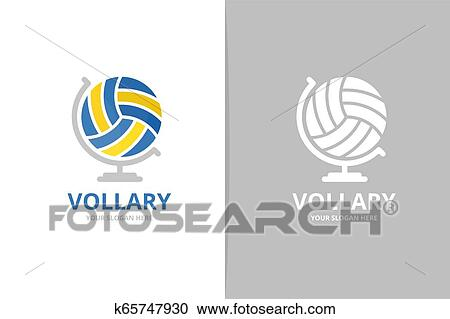 Volleyball And Globe Logo Combination Unique Ball Logotype Design Template Clipart K65747930 Fotosearch