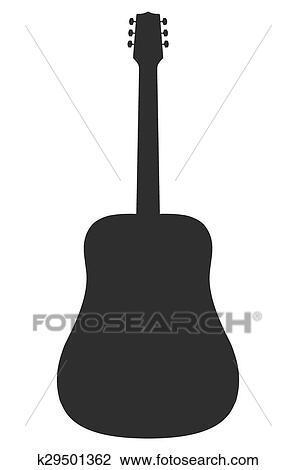 ベクトル シルエット の アコースティックギター クリップアート