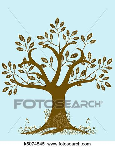 stock illustration of abstract tree silhouette with leaves and vines