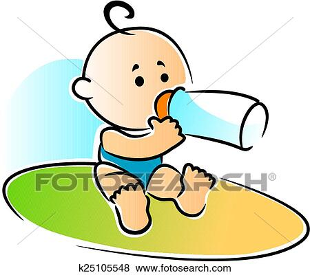 clip art of adorable newborn baby drinking a bottle of feed rh fotosearch com newborn baby clipart black and white new baby clipart