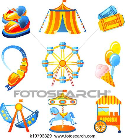 clip art of amusement park icons set k19793829 search clipart rh fotosearch com park clipart images park clipart black and white
