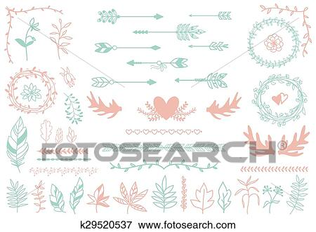 clip art of ethnic tribal boho elements arrows and feathers