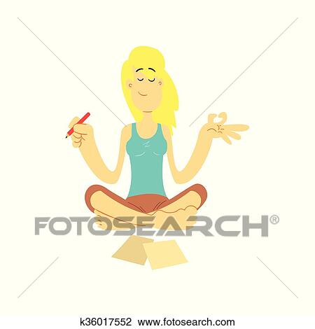 girl in lotus position clipart  k36017552  fotosearch