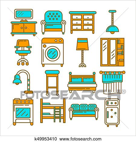 Home And Room Furniture Interior Accessories Or Appliances Vector Flat Icons Set Clipart