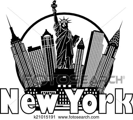 i love new york coloring page - clipart horizon new york noir blanc cercle
