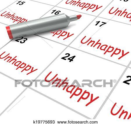 Calendario Significato.Infelice Calendario Mezzi Problemi Stress O Tristezza Disegno