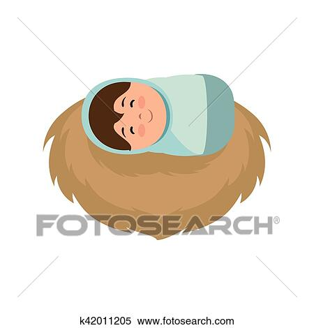 Clipart Of Jesus Baby Manger Character K42011205