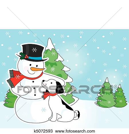 Clipart bonhomme de neige et chien sc ne k5072593 recherchez des clip arts des - Clipart bonhomme de neige ...