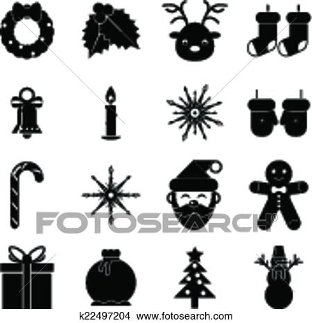 clipart new year symbols christmas accessories icons isolated silhouette set greeting card elements trendy modern