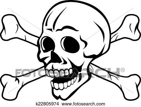 Clipart Of Skull With Bones K22805974
