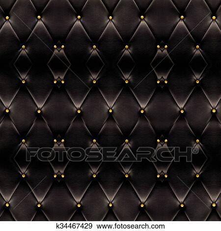 Texture Of Beautiful Black Leather Sofa With Golden Buttons