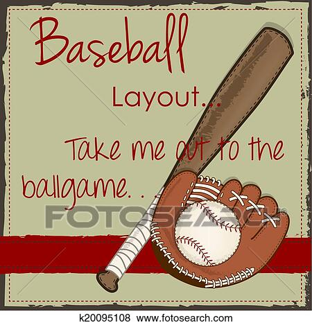 Clip Art Vintage Baseball Glove Or Mitt And Wooden Bat Fotosearch