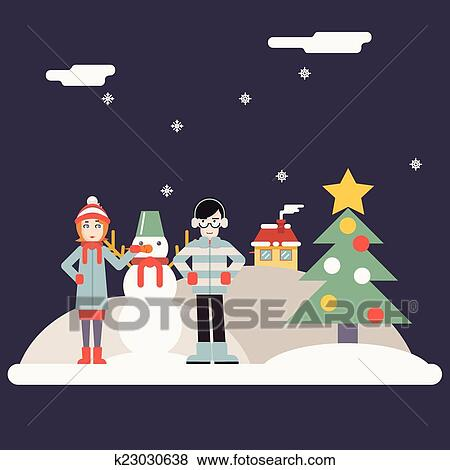 Clip Art Of Winter Geek Hipster Happy Family Characters Making