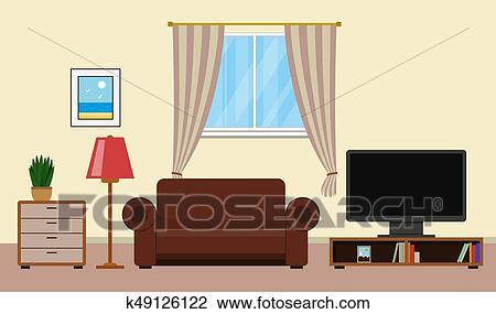 Interieur Design Woonkamer : Clipart woonkamer met meubel interieurdesign k zoek
