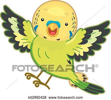 セキセイインコ インコ 鳥 クリップアート K52992428 Fotosearch