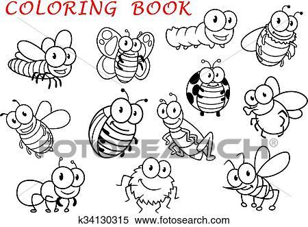 Clipart - aislado, contorno, insecto, animales, caracteres k34130315 ...