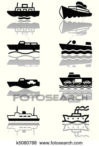Clipart Bateau Symbole Illustration Ensemble K5080788