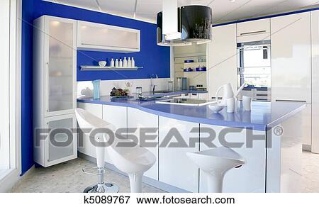 Stampe Cucina Moderna : Immagine blu bianco cucina moderno disegno interno casa