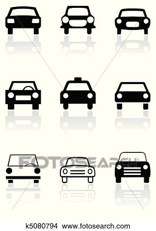 Clipart Of Car Symbol Or Road Sign Vector Set K5080794 Search