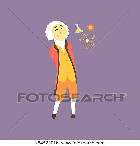 Clip Art Of Cartoon Character Of Isaac Newton Famous Physicist And