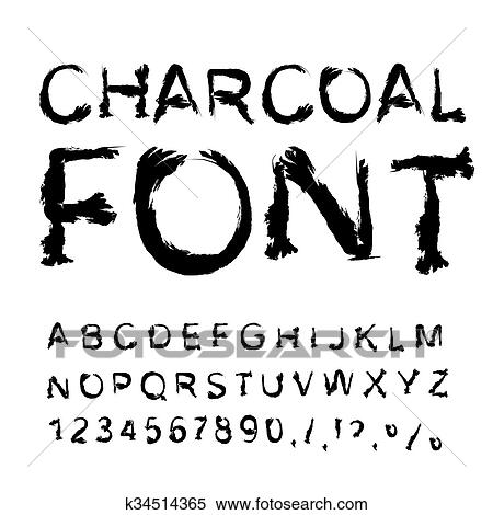 Clipart Of Charcoal Font Letters From Charcoal Black Tattered