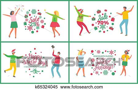 Happy people having corporate Xmas party, celebrating Christmas in office  Clipart   k51964180   Fotosearch
