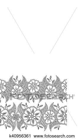 Clipart - conjunto, de, dos, seamless, patrón, floral, fronteras ...