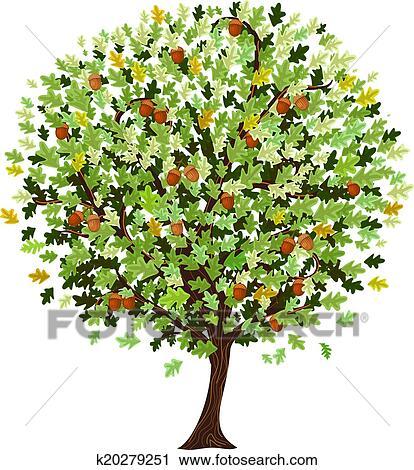 Decorative Oak Tree Clipart K20279251 Fotosearch